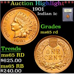 ***Auction Highlight*** 1901 . . Indian Cent 1c Graded GEM Unc RD By USCG (fc)