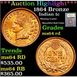 ***Auction Highlight*** 1864 Bronze Blazing Luster Beautiful Red Color Indian Cent 1c Graded Choice