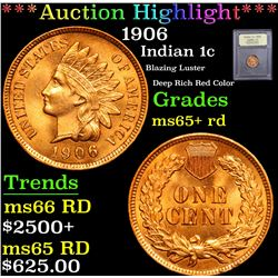 ***Auction Highlight*** 1906 Blazing Luster Deep Rich Red Color Indian Cent 1c Graded Gem+ Unc RD By