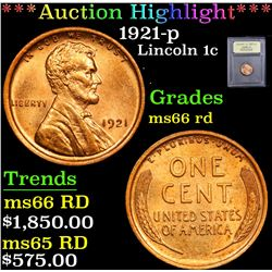 ***Auction Highlight*** 1921-p . . Lincoln Cent 1c Graded GEM+ Unc RD By USCG (fc)