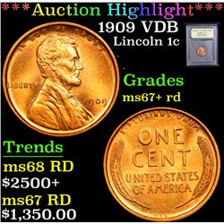 ***Auction Highlight*** 1909 VDB . . Lincoln Cent 1c Graded GEM++ RD By USCG (fc)