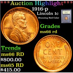 ***Auction Highlight*** 1916-p Stunning Red Color . Lincoln Cent 1c Graded GEM+ Unc RD By USCG (fc)