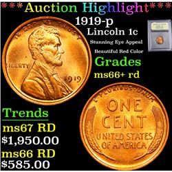 ***Auction Highlight*** 1919-p Stunning Eye Appeal Beautiful Red Color Lincoln Cent 1c Graded GEM++
