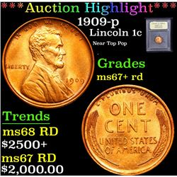 ***Auction Highlight*** 1909-p Near Top Pop . Lincoln Cent 1c Graded GEM++ RD By USCG (fc)