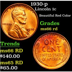 1930-p . Beautiful Red Color Lincoln Cent 1c Grades GEM+ Unc RD