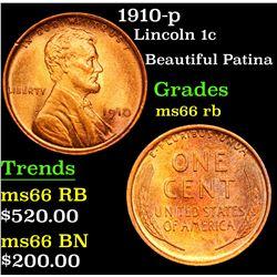 1910-p Beautiful Patina . Lincoln Cent 1c Grades GEM+ Unc RB