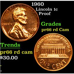 1960 proof . Lincoln Cent 1c Grades Gem+ Proof Red Cameo