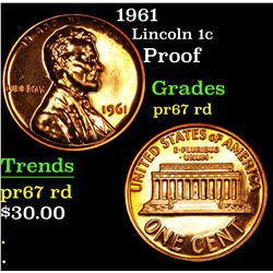1961 proof . Lincoln Cent 1c Grades Gem++ Proof Red