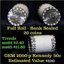 2000-p $10 Bank Rolled Kennedy Half Dollar Shotgun Roll