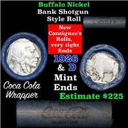 Full roll of Buffalo Nickels, 1926 on one end & a 'd' Mint reverse on other end (fc)