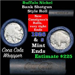 Full roll of Buffalo Nickels, 1926 on one end & a 's' Mint reverse on other end (fc)