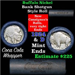 Full roll of Buffalo Nickels, 1924 on one end & a 'd' Mint reverse on other end (fc)