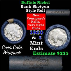 Full roll of Buffalo Nickels, 1920 on one end & a 's' Mint reverse on other end (fc)
