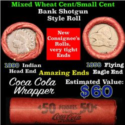 Mixed small cents 1c orig shotgun roll, 1890 Indian Cent, 1858 Flying Eagle other end