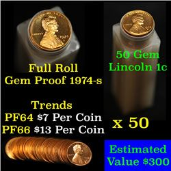 Proof 1974-s Lincoln cent 1c roll, 50 pieces (fc)