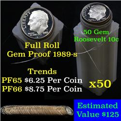 Proof 1989-s Roosevelt Dime 10c roll, 50 pieces (fc)