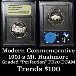 1991-S Mt. Rushmore Proof  Modern Commem Half Dollar 50c Graded GEM++ Proof Deep Cameo by USCG