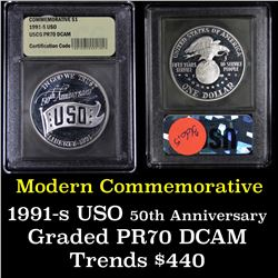 1991-d USO Unc Modern Commem Dollar $1 Graded ms70, Perfection by USCG