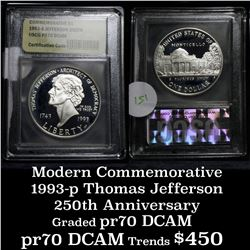 1993-s Thomas Jefferson 250th Anniversary Modern Commem Dollar $1 Graded Gem++ Proof DCAM by USCG