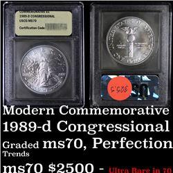 1989-d Congressional Bicentennial Unc Modern Commem Dollar $1 Graded ms70, Perfection by USCG