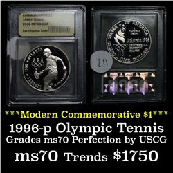 1996-p Olympic Tennis Proof  Modern Commem Dollar $1 Graded GEM++ Proof Deep Cameo by USCG