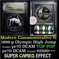 1996-p Olympic High Jump Proof Modern Commem Dollar $1 Graded GEM++ Proof Deep Cameo by USCG