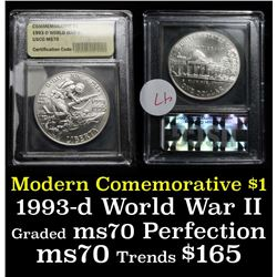 1993-p WWII Unc Modern Commem Half Dollar 50c Graded ms70, Perfection by USCG