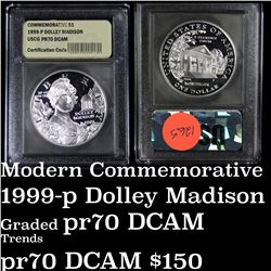 1999-p Dolley Madison Proof Modern Commem Dollar $1 Graded GEM++ Proof Deep Cameo by USCG