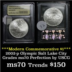 2002-p Olympic Salt Lake Unc Modern Commem Dollar $1 Graded ms70, Perfection by USCG