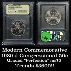 1989-d Congressional Bicentennial Unc Modern Commem Half Dollar 50c Graded ms70, Perfection by USCG