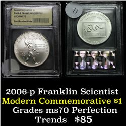 2006-p Franklin Scientist Unc Modern Commem Dollar $1 Graded GEM++ Proof Deep Cameo by USCG