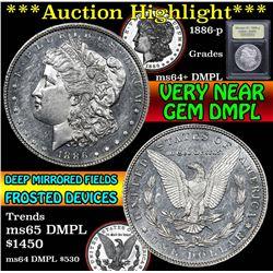 ***Auction Highlight*** 1886-p Morgan Dollar $1 Graded Choice Unc+ DMPL by USCG (fc)