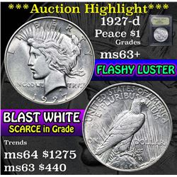 ***Auction Highlight*** 1927-d Peace Dollar $1 Graded Select+ Unc by USCG (fc)
