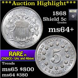 ***Auction Highlight*** 1868 Shield Nickel 5c Graded Choice+ Unc by USCG (fc)