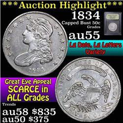 ***Auction Highlight*** 1834 Capped Bust Half Dollar 50c Graded Choice AU by USCG (fc)