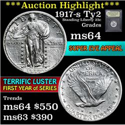 ***Auction Highlight*** 1917-s TY 2 Seated Liberty Quarter 25c Graded Choice Unc by USCG (fc)