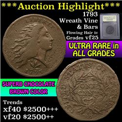 ***Auction Highlight*** 1793 Wreath Vine & Bars Flowing Hair large cent 1c Graded vf+ by USCG (fc)