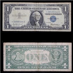 ***Star Note 1957 $1 Blue Seal Silver certificate Grades vf+