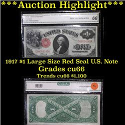 ***Auction Highlight*** 1917 $1 large size Red seal U.S. Note Elliott-Burke Graded by C.G.A. (fc)