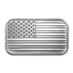 1 oz American Flag Silver Bar -.999 Pure