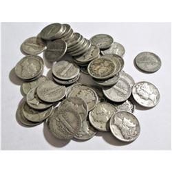 Lot of (50) Mercury Dimes -90% Silver