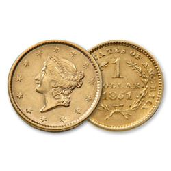 1851 $1 Gold Liberty Type One
