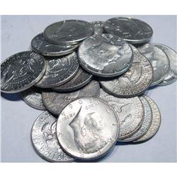 (20) Kennedy Half Dolars 90% Silver 1964