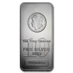 10 oz. Silver Morgan Design Bar .999 Pure