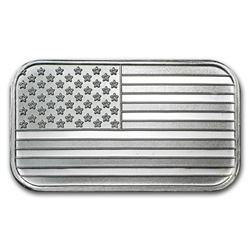 1 oz USA Flag Design Silver Bar .999 Pure