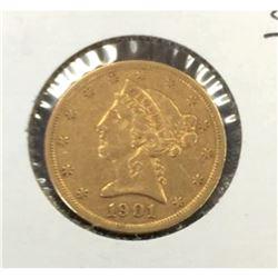 1901 s $5 Gold Liberty Half Eagle