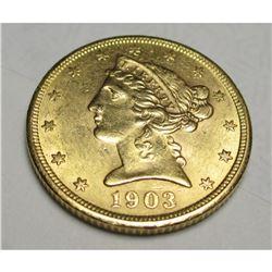 1903 S $5 Gold Liberty HIGH GRADE