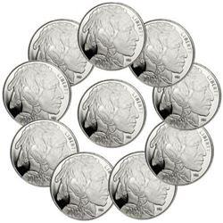 (10) Buffalo Design 1 oz Silver Rounds