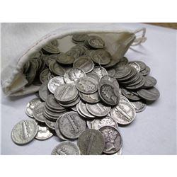 Canvas Bank Bag w/ 200 Mercury Dimes 90% Silver
