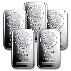 (5) Sunshine Mint 1 oz Silver Bars